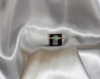 turquoise ring in vermeil. gemstone natural gemstone