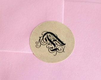 """Monogram 1"""" inch round stickers brown kraft paper black ink"""