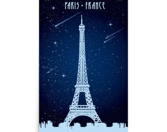 Large Eiffel Tower Paris France Poster /  Art Print / Wall Decor / Travel WP101