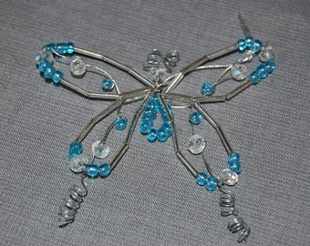 Butterfly beaded ornament ~ Carolina Blue ~ set of 2
