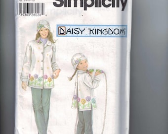 Misses and Girls Sewing Pattern Simplicity 5946 Daisy Kingdom Fleece Coat and Hat Size 3 4 5 6 7 8 UNCUT