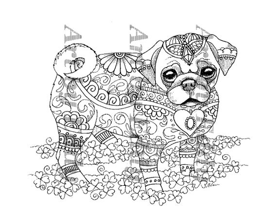 Art of Pug Single Coloring Page Pug Puppy