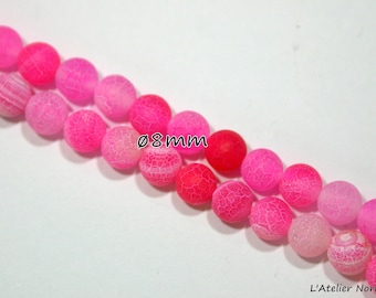 14 pink marbled agate beads diameter ø 8mm white