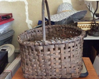 Antique splint woven gathering basket