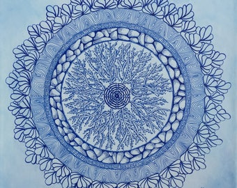 """Mandala painting on gallery wrapped canvas, Zentangle® patterns, all blue design, wall art, 12"""" x 12"""", ready to hang, original artwork"""