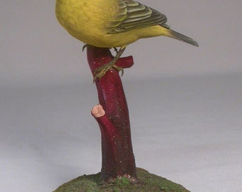 Yellow Warbler (female) Wooden Hand carved Bird