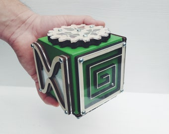 Gift for Kids - Busy Cube Green - Montessori Toys - Activity Board - Gift for Boy - Toddler Busy Board - Toy for Trip - Travel Game