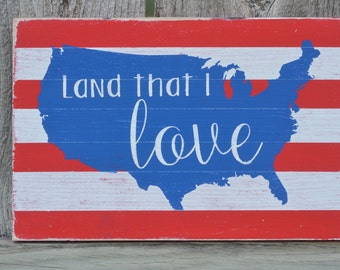 USA Land that I Love Hand painted Typography July 4th Sign