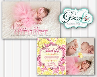Baby Announcement Card, Thank You Baby Announcement Card, Girl Baby Announcement Card, Personalized Baby Announcement, Birth Announcement