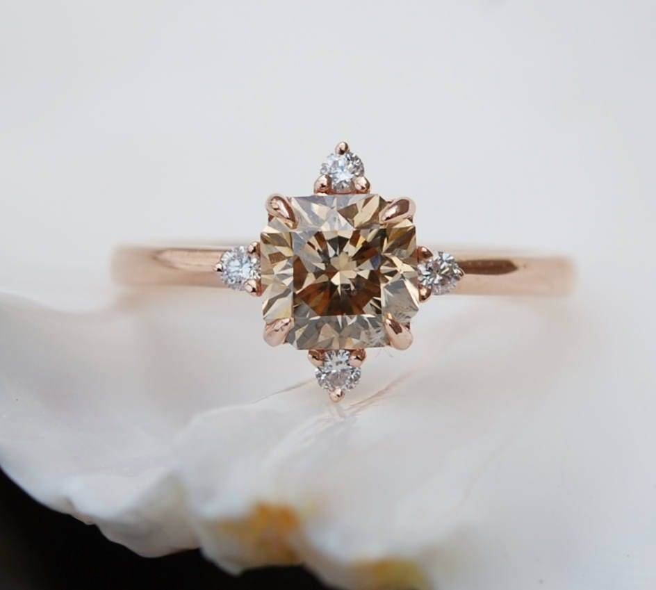 media wedding champagne diamond ring engagement rings light oval halo brown gold rose