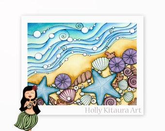 Tropical Beach Seashells - Sea Shells - Beach Decor - Shell Wall Art Print - Hawaii
