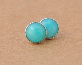 Amazonite Earrings with Sterling Silver studs, 6mm Amazonite gemstones