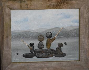 rock art - pebble art - Smoky Mountain Rock Art - Rustic Art - Fishing - Family - Home Decor - Office Decor - Art and collectibles