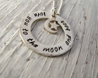 Love You to the Moon and Back Hand Stamped Necklace, Sterling Silver Washer and Moon Charm - Ready to Ship