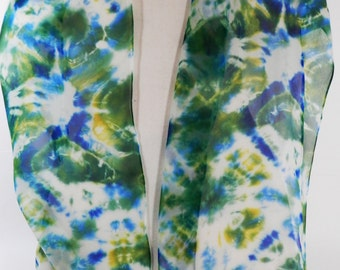Chiffon, Silk, Tie Dye Oblong Scarf in Green, Blue, Yellow and White