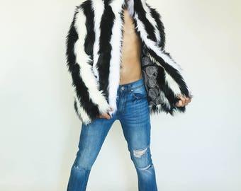 CUSTOM Black & White 'Cruella' Coat in Shag Faux Fur by Sublime Designs