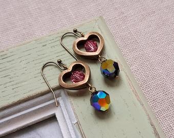 Dangling Swarovski crystal earrings AB black and pink earrings Heart charm earrings