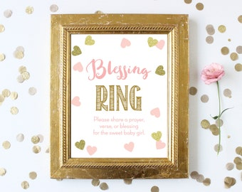 Blessing Ring Sign . Baby Shower Blessing . Blessings for Baby Girl . Printable Instant Digital Download . Pink and Gold . Baby Shower Girl