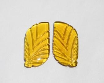1 Pair Citrine Quartz Carved Leaves Loose Gemstone Carved Gemstone Leaves Size 38X19 MM