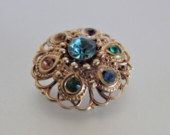 Vintage Art Deco Glass Round Filigree Brooch Pin    Art Deco Jewelry Jewellery   Vintage Deco Pin   Gift Jewelry for Her