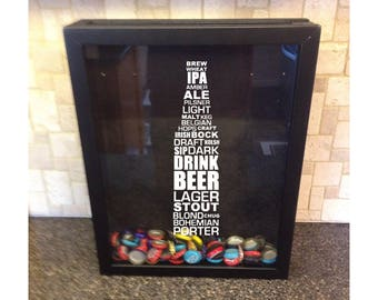 "Beer Cap Holder Shadow Box - Beer Bottle Typography - Types of Beer - (11"" x 14"" or 12"" x 12"") - Vinyl Decal Gifts"