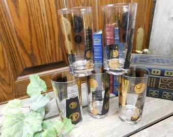 Set of 5 Vintage Mid Century Bob Wallack Cera Highball Tumbler Glasses - Coins