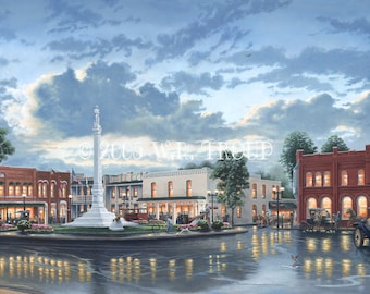 "Franklin, Tennessee Square, The Town Square 18x32"" Unframed Giclee Print, Raymon Troup"