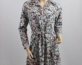 Vintage 1970's Floral Pattern Shift Midi Dress