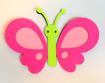 8 Pink Butterfly die cuts - 4 inches tall
