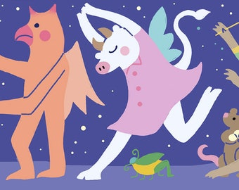 March of the Full Moon, 4x12 Panoramic Art Print, Animals on Parade, Marching Band, Illustration, Childrens Wall Art, Kids Room Art