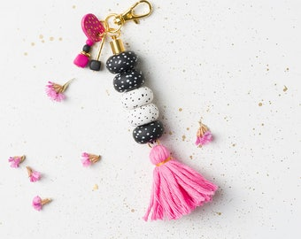 Colorful Keychain, Tassel Accessory, Purse accessory, Geometric keychain, Colorful accessories, Geometric gift, Key fobs, Purse tassel, Pink