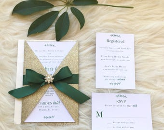 Green and Gold Invitation Suite //  Holiday Wedding Invitation // Winter Invitation // Botanical Invitation
