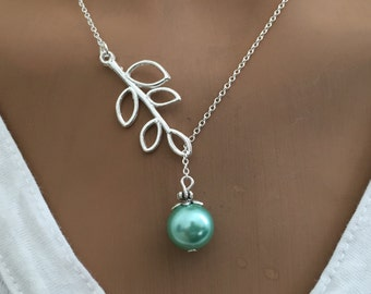 lariat style necklace - pearl necklace - gift