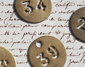Vintage French brass fob number tag (Various numbers available)hotel door key room number