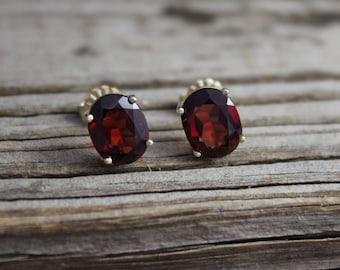 Oval Garnet 14k Yellow Gold Stud Earrings, January Birthstone Earrings, Red Gemstone, Garnet & Gold, Studs, Ready to Ship Earrings