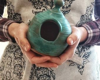 Handmade stoneware salt pig, salt cellar, turquoise green