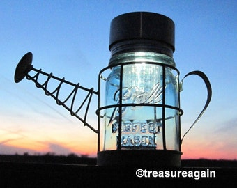 Mason Jar Water Can Solar Light Garden Decor Antique Blue Ball Jar in Watering Can Basket, Upcycled Outdoor Garden Lighting