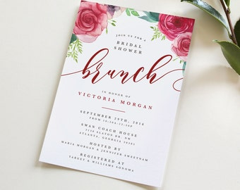 Bridal Shower Brunch Invitation, Bridal Shower Invitation, Brunch Wedding Shower Invitation, Floral Shower Invitation, Shower, Wedding