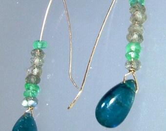 Minimalist Labradorite Emerald Kyanite Dangle Earrings Yellow Gold 14kt