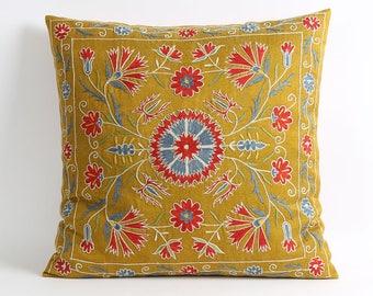 18x18 floral green suzani cushion, suzani embroidery, embroidery pillow, uzbek suzani, accent pillow, suzani throw pillows, designer pillows