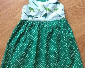 Green dinosaur summer dress, size 4