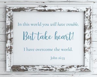 John 16:33 blue Bible verse digital art print | Quote digital art print