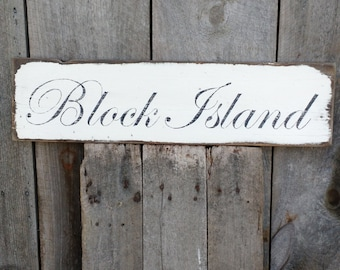 Classic Block Island sign hand-painted distressed shabby chic on salvaged wood MADE 2 ORDER
