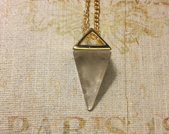 Quartz Crystal Pyramid Pendant Necklace