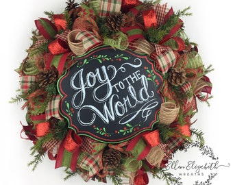 Rustic Christmas Wreath, Christmas Door Wreaths, Christmas Mesh Wreaths, Rustic Christmas Decor, Christmas Door Decor, Joy to the World