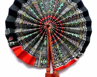 Foldable Dashiki/Angelina Print Handheld Fan