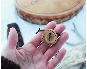 Snake medicine amulet • Shamanic necklace • Wooden pendant • Spirit animal • Witch necklace • Pagan jewelry • Primitive • Tribal jewelry