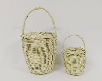 SKINNY and MINI Jane Birkin Basket with Lid // Handmade basket with lid // Handwoven Birkin Basket //Eco-friendly // Natural color