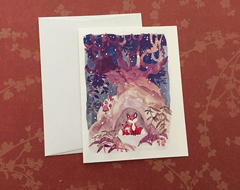 Set of 10 Christmas Greeting Cards Foxes Shelter from Snow
