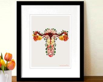 "Flower Uterus - Baby Garden, 8.5"" x 11"" Fine Art Print,Anatomy Medical print, OBGYN Gift, Nurse Graduation gift, Female Reproductive System"